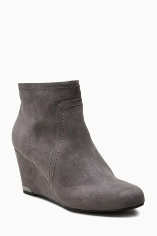 Grey Formal Wedge Boots