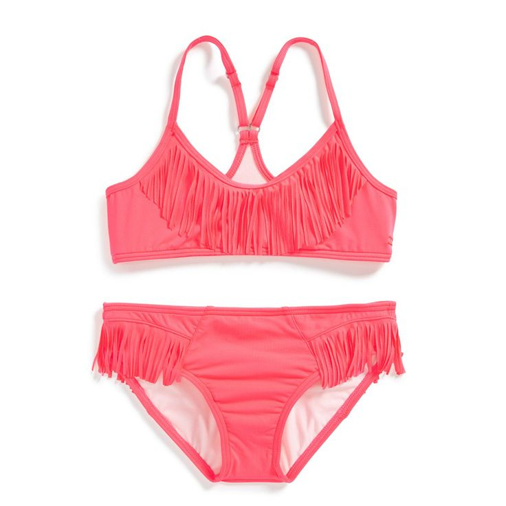Billabong fringe bikini. Raspberry red fringe two piece swimsuit for tween girls
