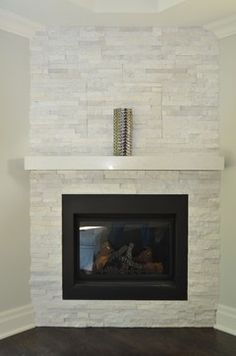 1000 ideas about white stone fireplaces on pinterest for Fireplace no mantle