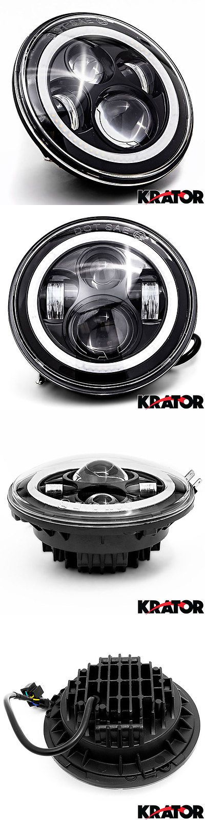 motorcycle parts: 7 Black Headlight Halo Ring For Harley Davidson Street Glide Flhx 2006-2013 BUY IT NOW ONLY: $63.99