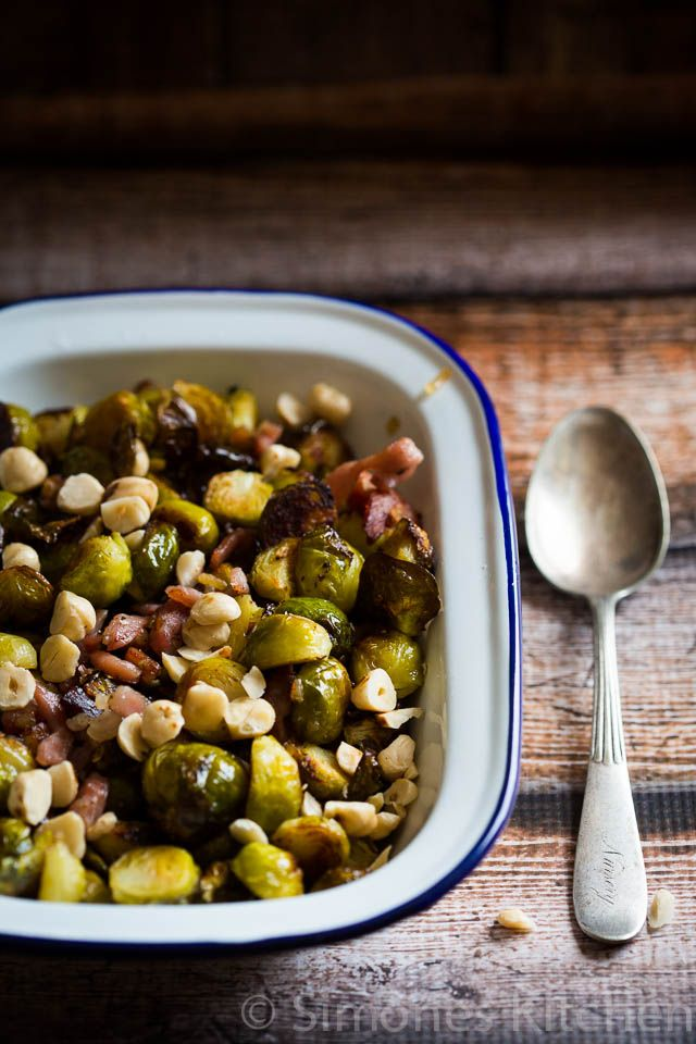 Roasted Brussels sprouts with bacon and hazelnuts | insimoneskitchen.com