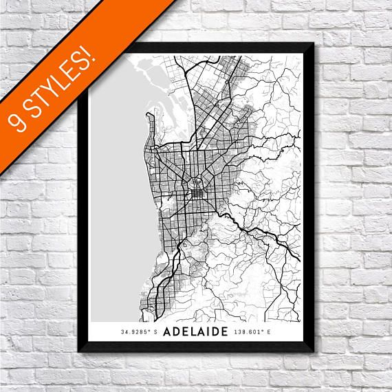 The most detailed city maps on Etsy! The South Australian city of Adelaide mapped in mind-blowing resolution by every one of its walking trails, cycleways, roads, streets and highways! Unlike other lower resolution city maps, our Every Road maps can be both viewed from a distance or from extremely close up to see the unique geography of the city displayed in all its intricate detail!  All of our Every Road maps come with a special guarantee: if you live in the mapped area and cant find your…