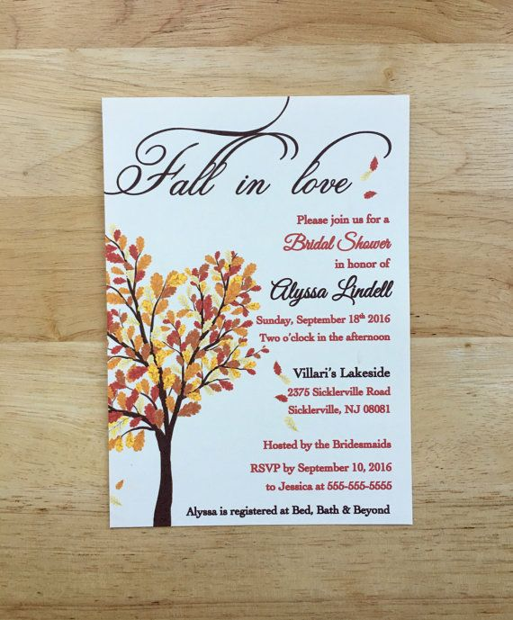 Fall In Love Bridal Shower Invitations Autum Leaves Theme