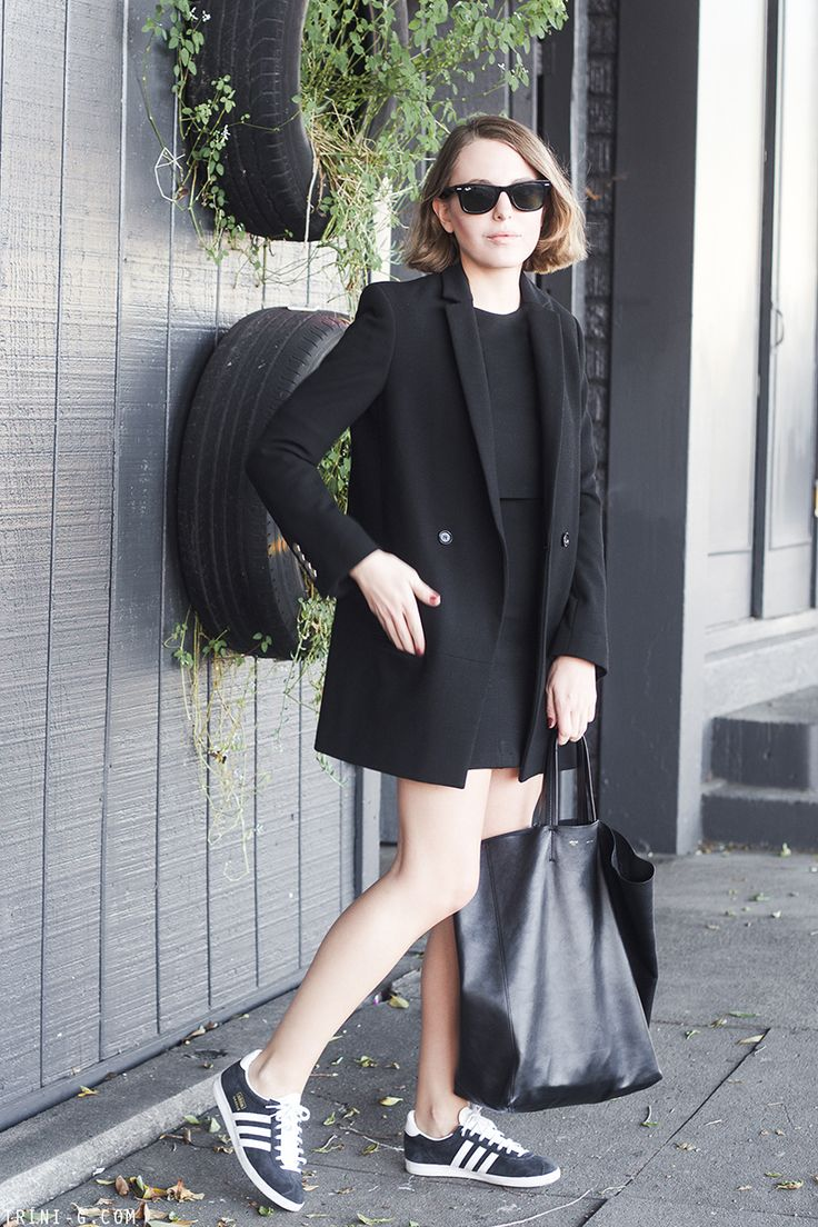 Black dress with adidas shoes - Winter 2014 2015 Outfit 9