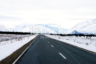Snowy Roadscape, New Zealand Aoraki National Park Royalty Free Stock Photo