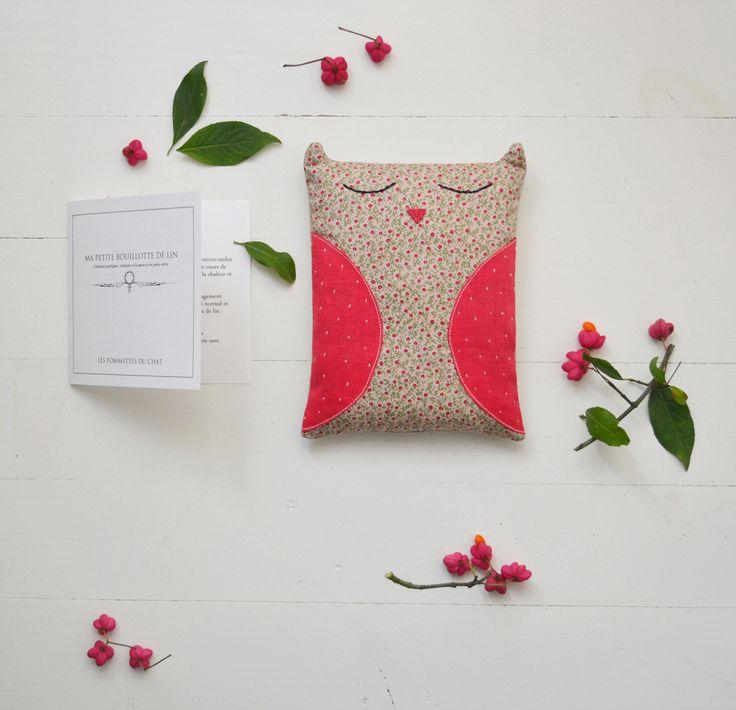 Done // Bouillotte sèche chouette ; Dimensions 11 cm x 18 cmGarnissage : graines de lin doré bio.