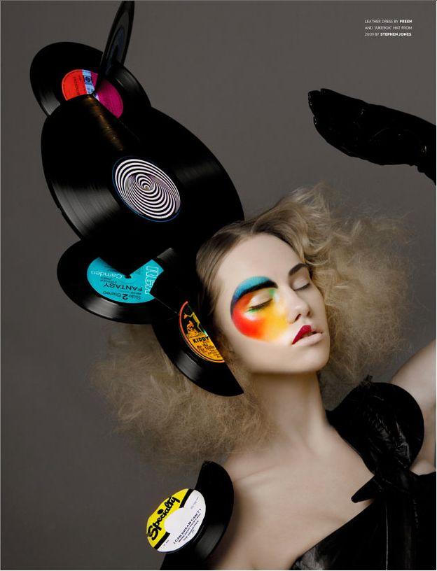 Stephen Jones vinyl disc headpiece