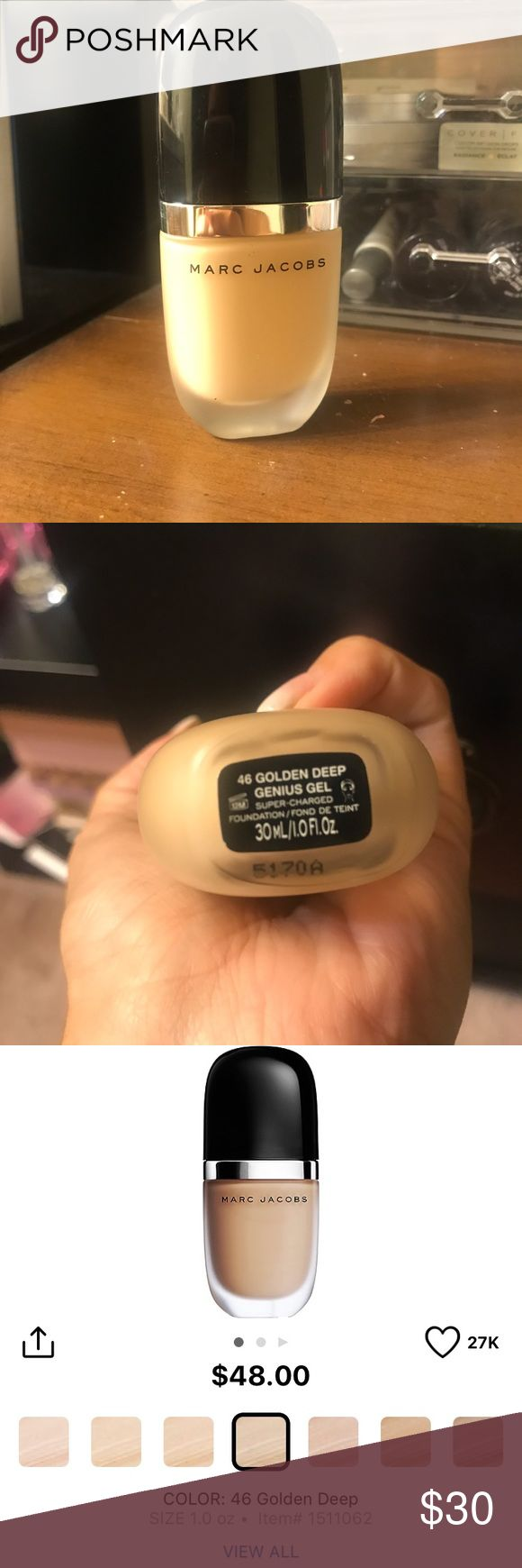 Marc Jacobs Genius Gel Foundation- Golden Deep Only used once, completely full. Retails for $48 Marc Jacobs Makeup Foundation