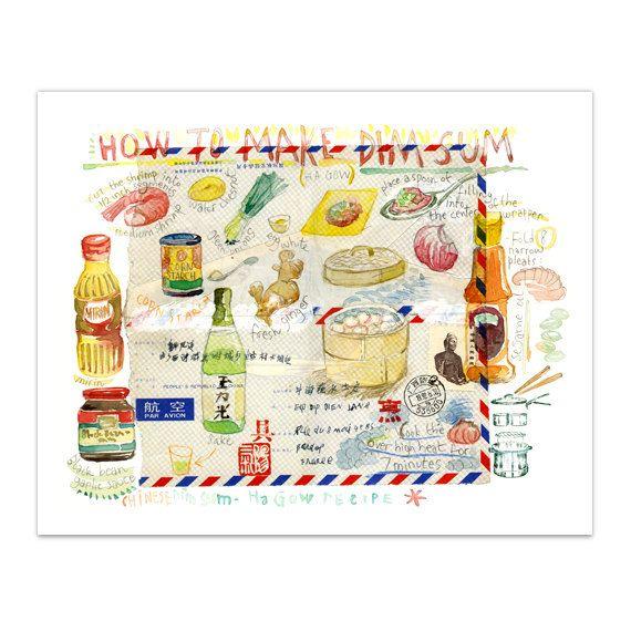 Bola de masa hervida China ilustrado receta impresión, cartel de alimentos, 8 X…