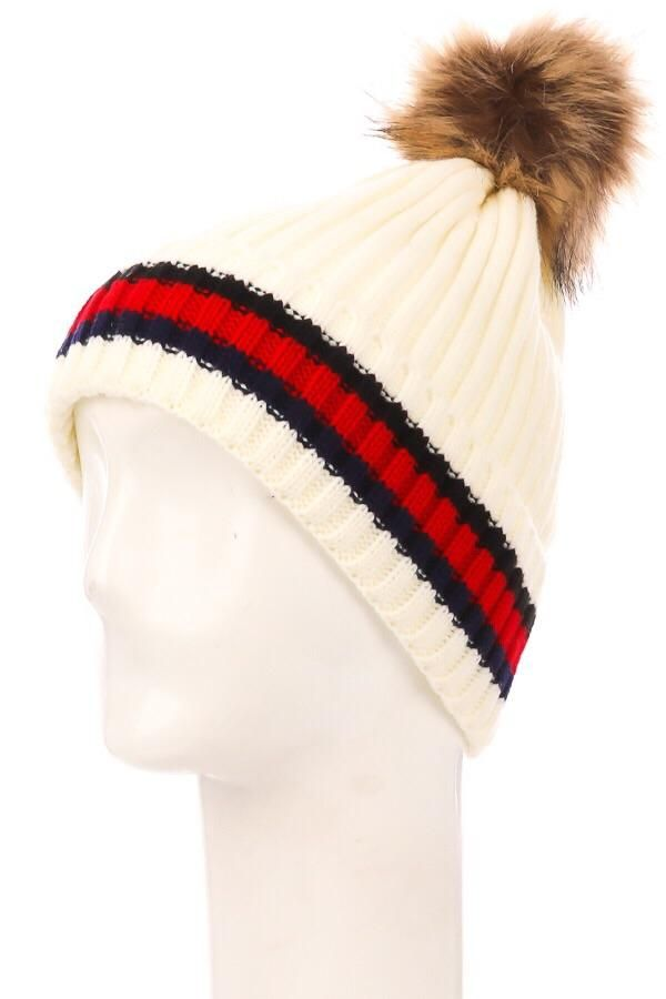 Striped Ribbed Pom Beanie  9f85a70ab204