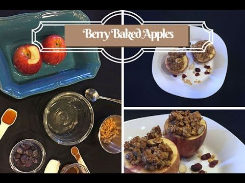Berry Baked Apples- quick video shows how to make this easy dessert recipe with only 6 ingredients - apples, berries, honey, granola, cinnamon and coconut oil.