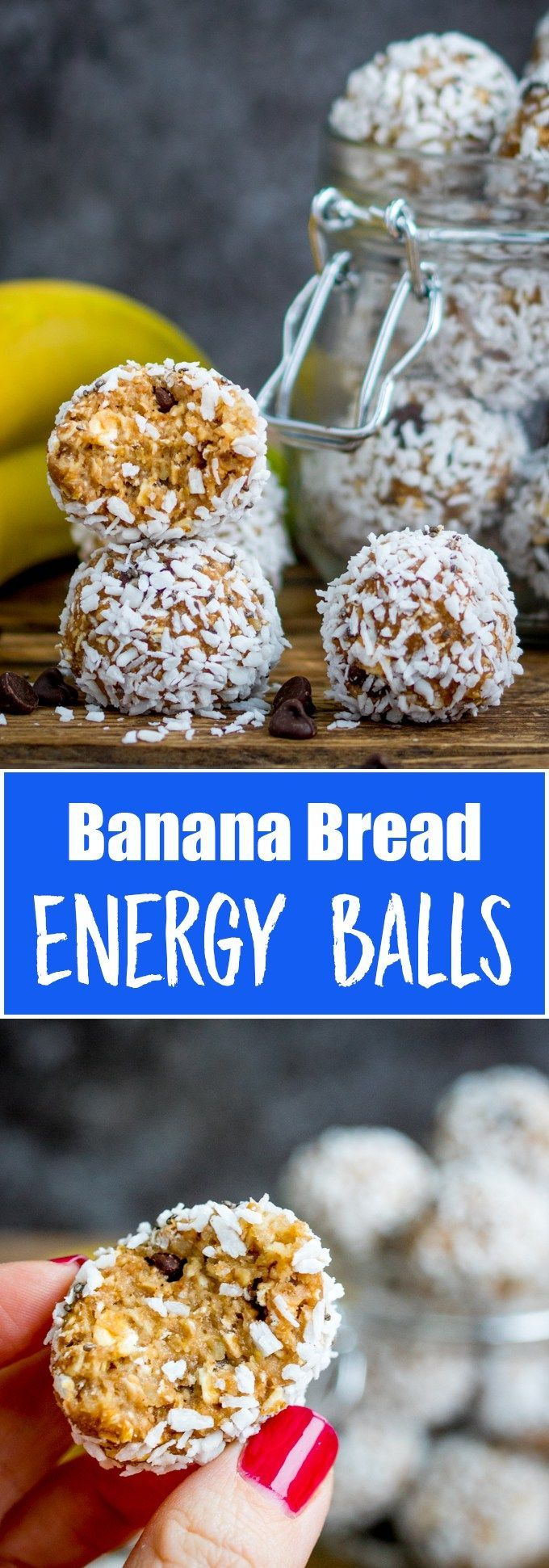 These no-bake Banana Bread Energy Balls are packed with delicious goodies. Perfect for breakfast on the run! Gluten free too! #energyballs #energybites #bananabread #glutenfreesnack