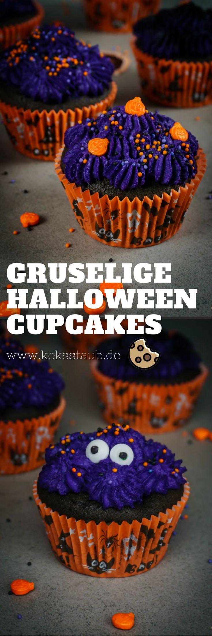 Rezept zum Backen von Gruseligen Frischkäse Kirsch Cupcakes zu Halloween - Anleitung mit und ohne Thermomix #Backen #Cupcakes #Halloween
