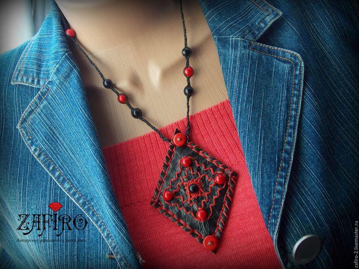 """Купить Бохо кулон из кожи """"Калейдоскоп"""" черный с красным кораллом - разноцветный, кулон из кожи"""