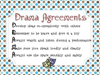 This poster outlines 5 basic agreements (rules) for the elementary drama classroom, but could also be used for high school. This PDF poster has been created for large printing paper (chart paper-sized), but can also be printed smaller (8.5 x 11). Just make sure to check the printing properties and change accordingly.