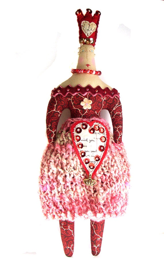Textile art cloth Valentines queen doll