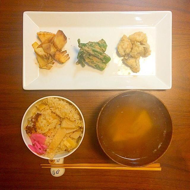 たけのこの炒め物。オクラの胡麻和え。鱧の南蛮漬け。たけのこごはんとたけのこのお味噌汁。 - 35件のもぐもぐ - 土鍋でたけのこごはん。 by yuko710