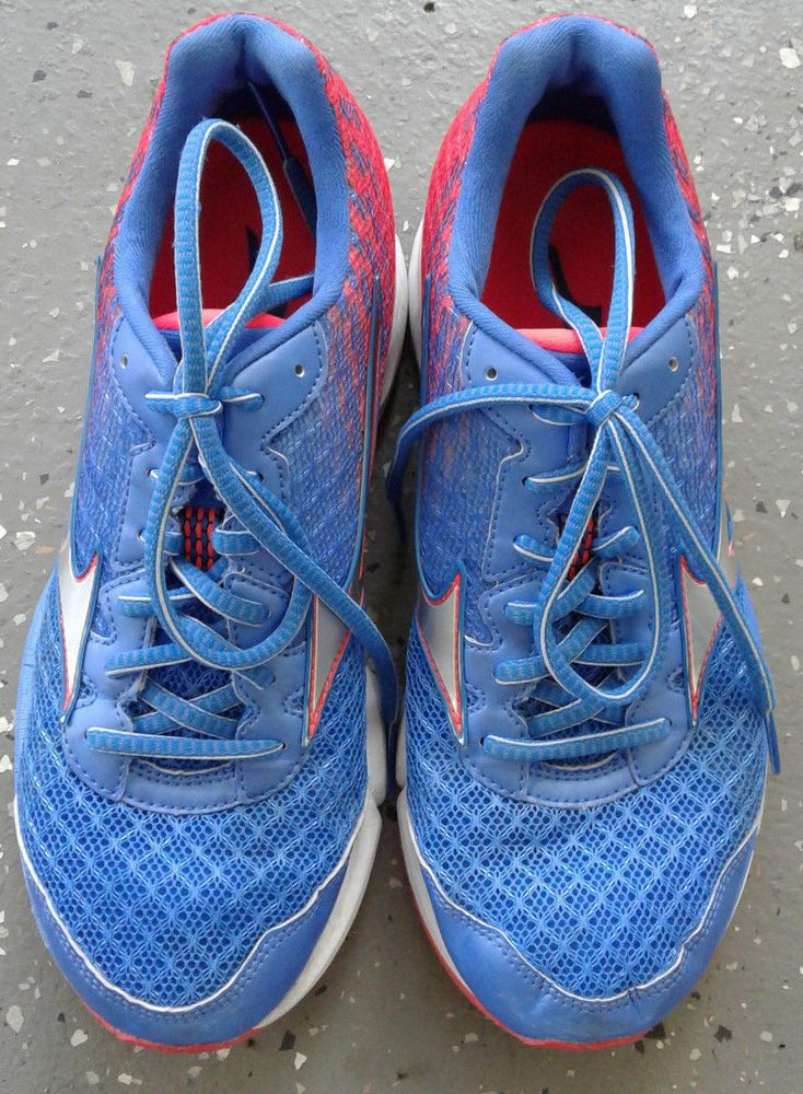 Mizuno Women's Wave Rider 19 Athletic Shoes/Size 9W/Synthetic Mat/Red/Blue/Laces #Mizuno #RunningCrossTraining
