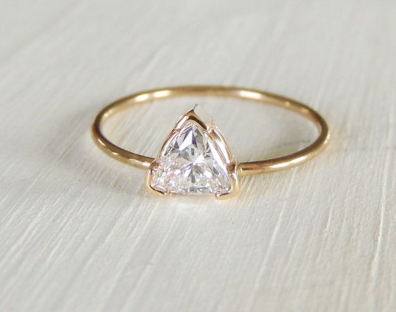 Moissanite Ring Trillion Moissanite Ring Engagement by Luxuring