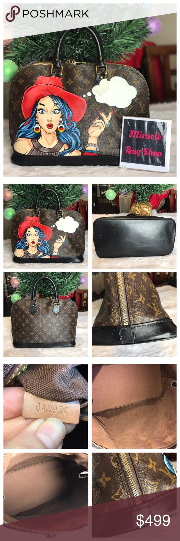 Authentic  Louis Vuitton Alma Pm hand painted Lady 100% Authentic Pre-Owned Louis Vuitton Alma Pm hand painted beautiful lady. Please look all picture Louis Vuitton Bags Shoulder Bags