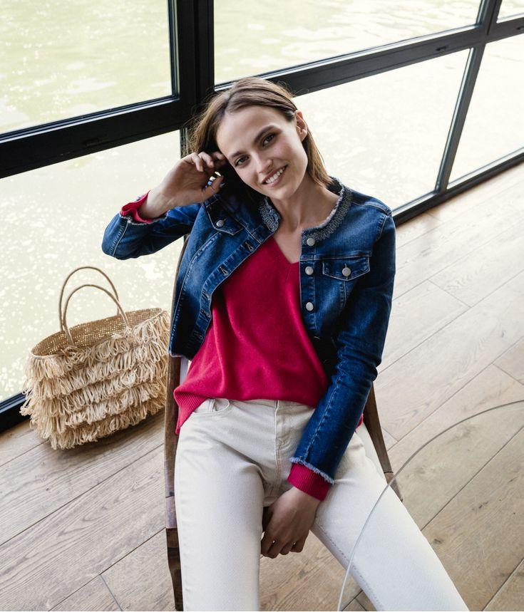 Veste courte jeans frangée détail brodé | Devernois SS18