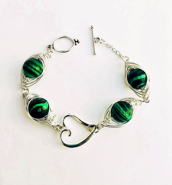 "wire wrapped bracelet,wire wrapping,FREE SHIPPING,plated wire,wgift vor women,ith malachite beads,by SHINE ""Color of Love"" magic bracelet,"