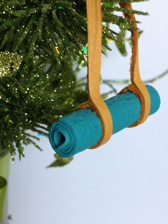 Yoga Ornament Yoga Mat Christmas Ornament Leather and Polymer Clay - Love That Leather