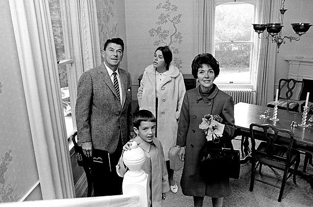 (My own opinion dd. of this photo) A 1967 photograph with  their two ungrateful children, Patricia, 13, and Ronald Jr., 8, in governor's mansion. Ronald Jr. ballet dancer and journalist; Patti was an opponent of her father's. During his first marriage to Jane Wyman,  they had the best of the 5. Maureen, actress, public servant. Christine, who died in infancy. and Michael, who was adopted. These children loved him and supported him. After Maureen died, Michael has carried on his legacy.
