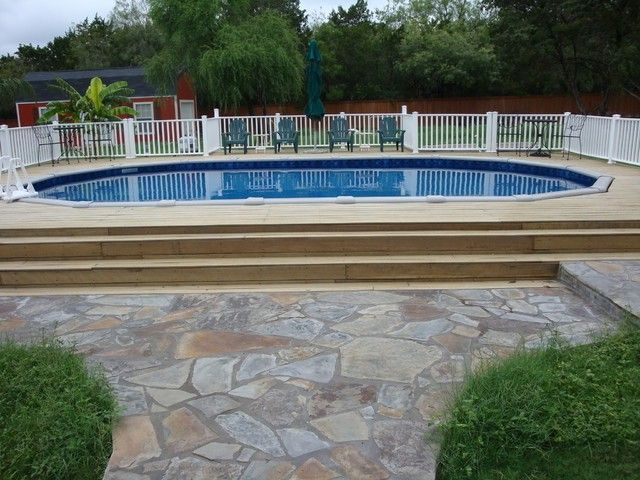 Above Ground Pools Decks Idea | This oval above ground pools with decks wallpaper, is categorized ...