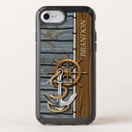 Custom Rope Wheel Nautical Anchor Wood Pattern Speck iPhone Case - classy gifts custom diy personalize