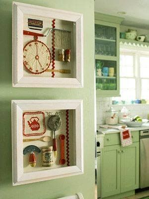 Shadow boxes with vintage items!