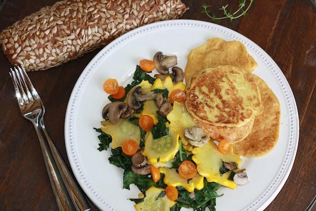 K's Veg Recipes: Vegan Egg Pancakes with Sunburst Squash Sauté