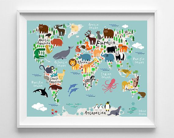 Animal World Map Poster, World Map Art, Type 1, Animal Print, Animal Nursery Decor, Kids Room Decor, Baby Room Poster, Fathers Day Gift