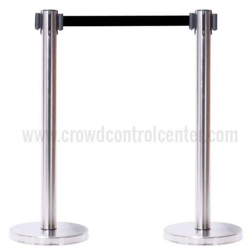 Buy Economy Version in Stain Stainless Steel Belt Stanchions at discounted prices from CrowdControlCenter, A Crowd Control Retractable Safety Barriers Warehouse US.