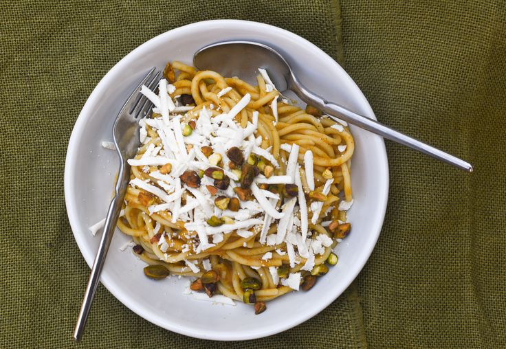 Bucatini Pasta with Butternut Squash Sauce, Feta, and Pistachios | The Weiser Kitchen