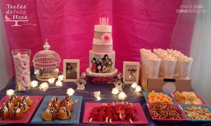 Mesa para merienda Gorjuss para mi hija Julia por sus 10 Tarta gorjuss con rosa…
