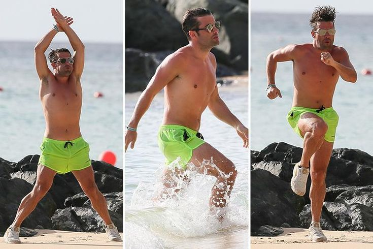 Joe McElderry enjoying a workout on the beach in Barbados
