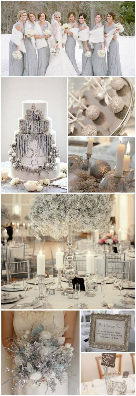 Exquisite Silver and White Winter Wedding Decorations