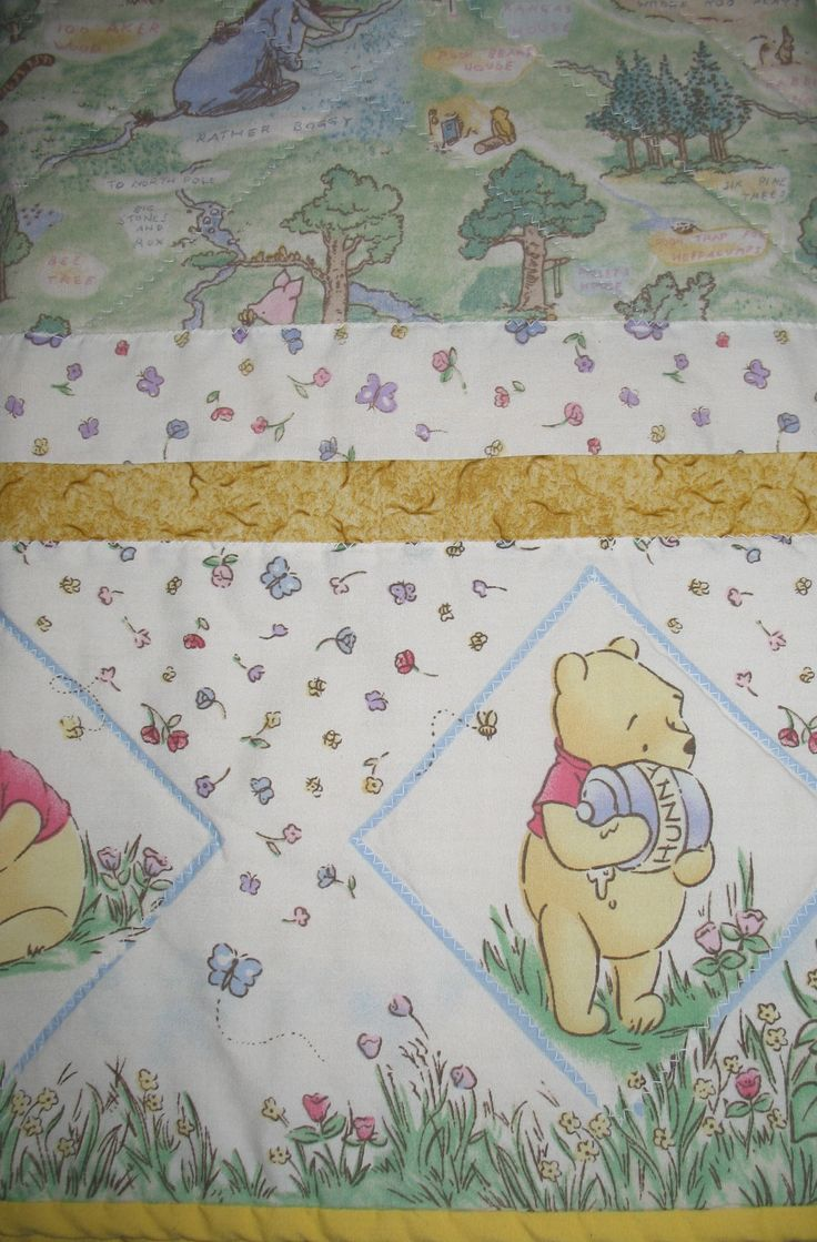 Classic Winnie The Pooh Quilt Handmade Baby Blanket Infant