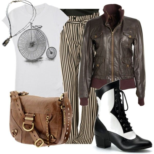 """""""everyday steampunk 1"""" by urbansouthuna on Polyvore - I really like steampunk (or steam-pulp as I'm discovering is more likely what I like) but would not want to go hardcore steampunk all the time, so I was inspired to design some outfits that incorporated steampunk but were still toned-down enough to be comfortable for every day."""