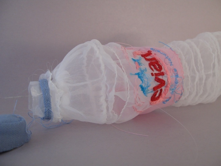 evian bottle hand embroidery on organza