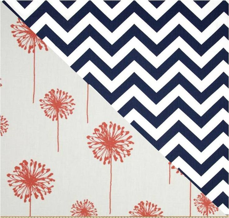 Coral Navy Dandelion Bedding, Toddler / College Dorm Style / Twin Bunkbed Duvet cover, Navy Coral Chevron