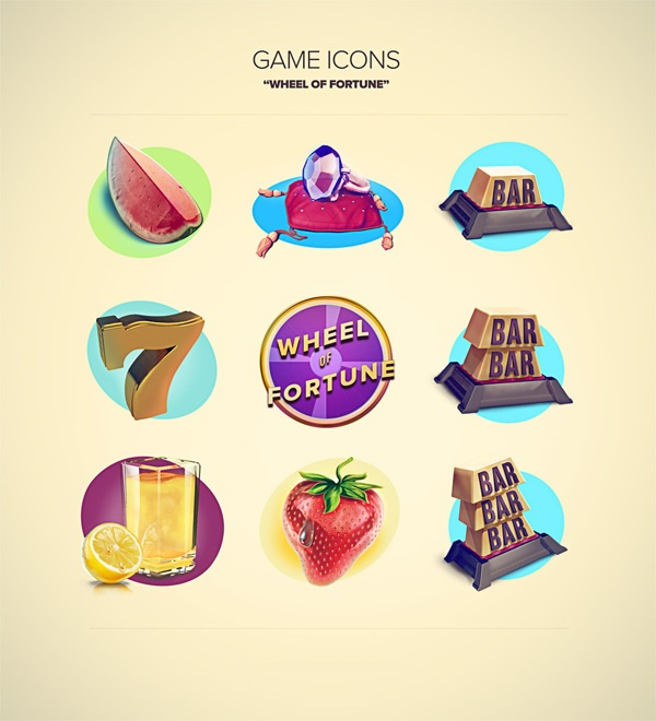 Wheel Of Fortune - Icons by Kristian Sörefelt, via Behance