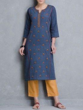 Blue Thread Embroidered Malkha Khadi Kurta