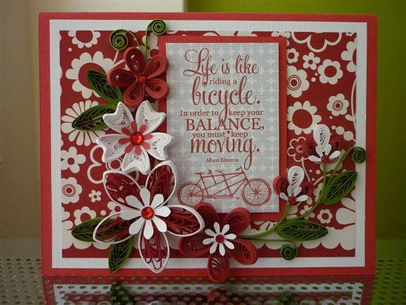 128 best quilling images on pinterest quilling quilling cards and handmade paper quilling red white greeting card with amazing flowers and bicycle friend birthday m4hsunfo