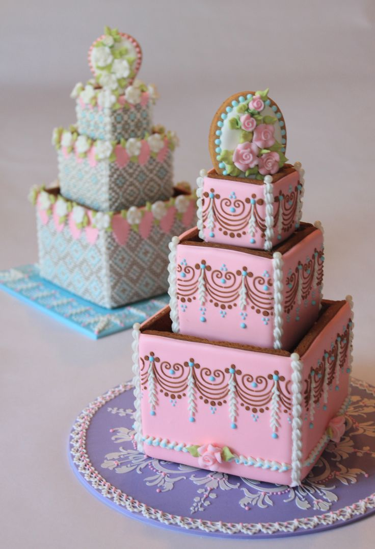 More 3 D Tiered Wedding Cake Cookies By Julia M Usher