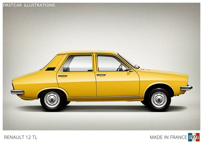 Renault 12 TL 1977 - Firstcar Illustrations   Personalized Car Illustrations   France