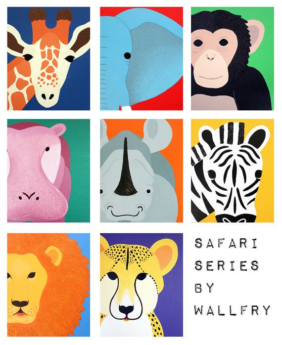 Art for children jungle baby nursery. Safari nursery art. Art for kids wall art. Zoo animal nursery decor, kids decor. Any 4 8x10 prints. $47.00, via Etsy.