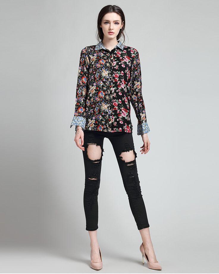 Floral Patterned Cotton Shirt (B0085)      #caterpillar #barnard #lafond #bernardlafond #cottage glaze #groove #moda #shop #shopping #blouse #womenblouse #girlsblouse #shop