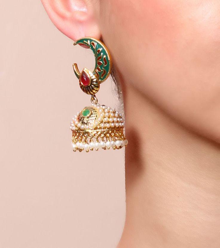 Golden, Green & White Embellished Jhumki Earrings